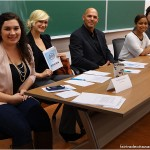 From left: Amber (Moderator from HerCampus), Stephanie, Bill, Nicole and Lia.