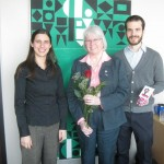 FTOÉ volunteers, Kyla and Dan, meet Marianne Wilkinson (center).