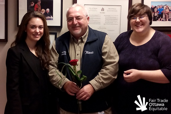 Fair Trade Ottawa Équitable volunteers Danika and Lia meeting with Councillor Allan Hubley on February 19, 2015