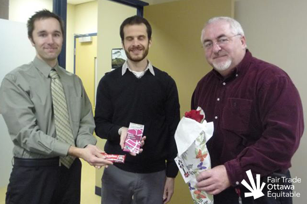Fair Trade Ottawa Équitable volunteers Mike and Dan meeting with Councillor Allan Hubley on March 5, 2012