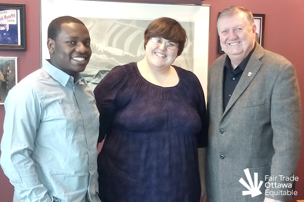 Fair Trade Ottawa Équitable volunteers Jeffry and Lia meeting with Councillor Bob Monette on February 24, 2015