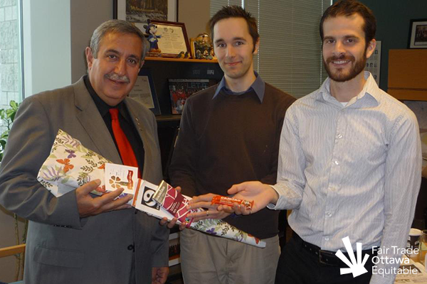 Fair Trade Ottawa Équitable volunteers Mike and Dan meeting with Councillor Eli El-Chantiry in February 2012