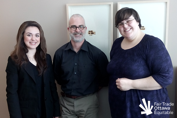 Fair Trade Ottawa Équitable volunteers Danika and Lia meeting with Councillor Jeff Leiper on February 19, 2015