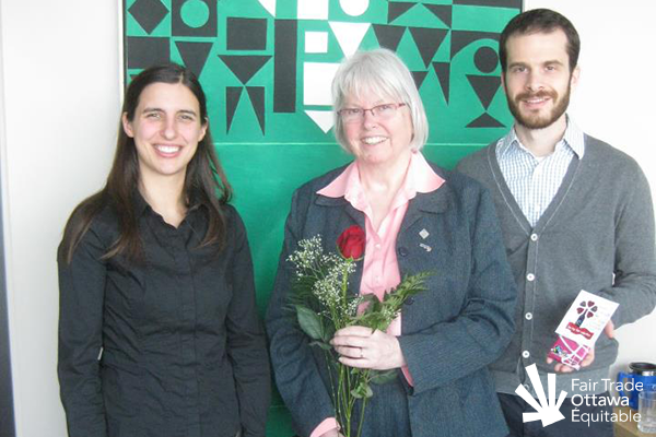 Fair Trade Ottawa Équitable volunteers Kyla and Dan meeting with Councillor Marianne Wilkinson in February 2012