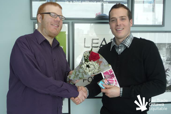 Fair Trade Ottawa Équitable volunteer Geoff meeting with Councillor Mathieu Fleury in February 2012