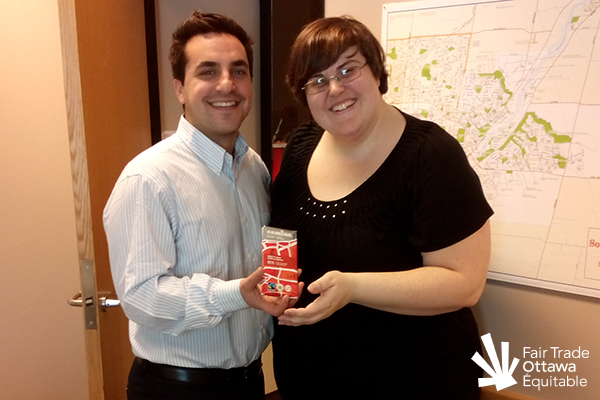 Fair Trade Ottawa Équitable volunteer Lia meeting with Councillor Michael Qaqish on March 2, 2015