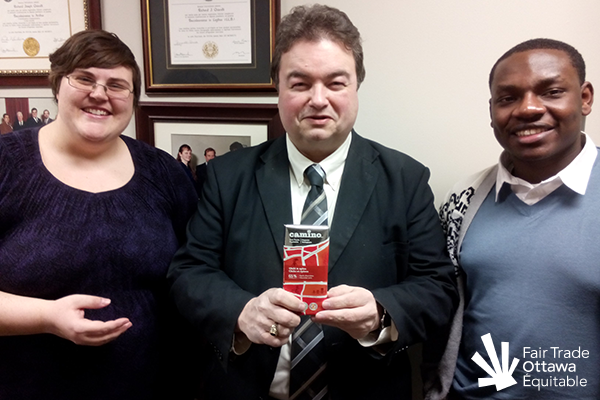 Fair Trade Ottawa Équitable volunteers Lia and Jeffry meeting with Councillor Rick Chiarelli on February 13, 2015