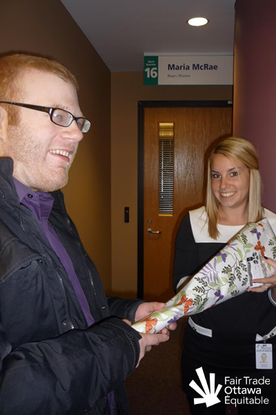 Fair Trade Ottawa Équitable volunteer Geoff meeting with the assistant of Councillor Maria McRae in February 2012