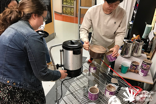 Fair trade hot chocolate event at Pierre-Savard